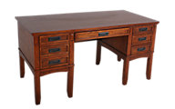 Ashley Cross Island Leg Desk With Storage
