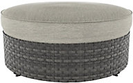 Ashley Spring Dew Outdoor Round Cushioned Ottoman