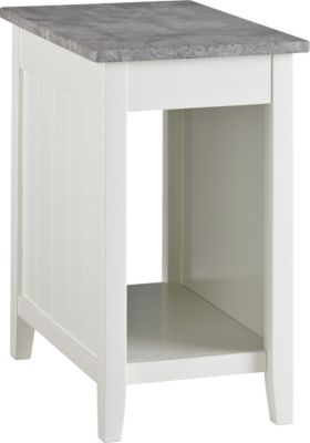 Ashley Diamenton White Chairside Table with Power Supply