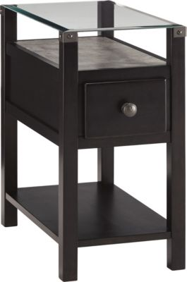 Ashley Diamenton Black Chairside Table with Power Supply