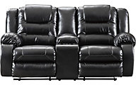 Ashley Vacherie Black Reclining Console Loveseat