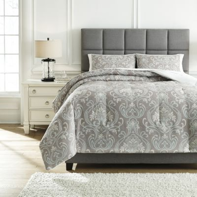 Ashley Noel Grey/Tan 3-Piece Queen Comforter Set
