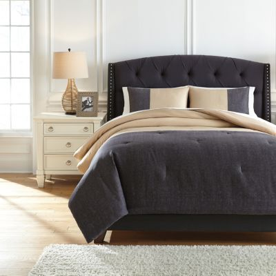 Ashley Medi Charcoal/Sand 3-Piece King Comforter Set