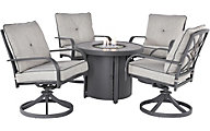 Ashley Donnalee Bay Fire Pit and 4 Swivel Loungers