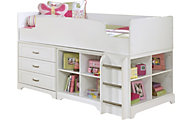 Ashley Lulu Twin Loft Bed with Dresser & Bookcase