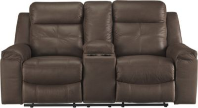 Ashley Jesolo Brown Reclining Console Loveseat