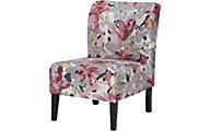 Ashley Triptis Pink Floral Armless Accent Chair