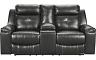 Ashley Kempton Black Reclining Console Loveseat