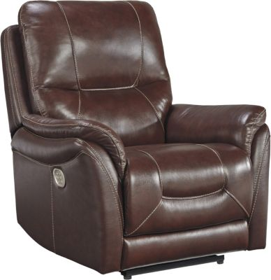 Ashley Stolpen Brown Leather Power Recliner