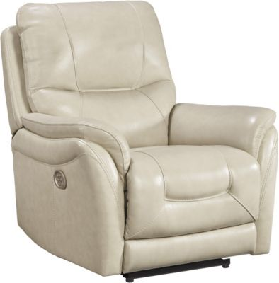 Ashley Stolpen Cream Power Leather Recliner