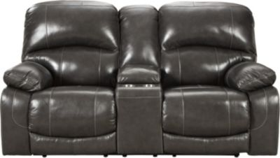Ashley Hallstrung Power Recline Leather Console Loveseat