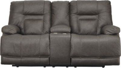 Ashley Wurstrow Gray Power Recline Leather Console Lovese