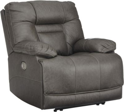 Ashley Wurstrow Gray Power Recline Leather Recliner