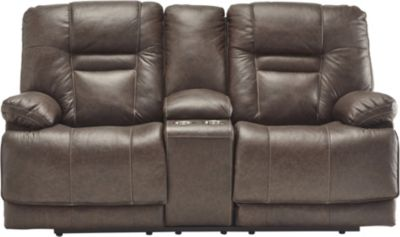 Ashley Wurstrow Brown Power Recline Leather Console Loves