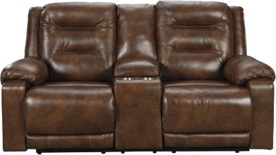 Ashley Golstone Leather Power Recline Console Loveseat