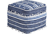Ashley Anthony Blue/White Pouf