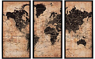 Ashley World Map Wall Art, Set of 3