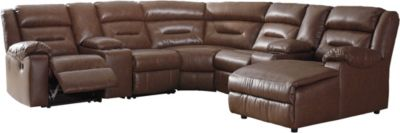 Ashley Coahoma Chestnut 7-Piece Reclining Sectional