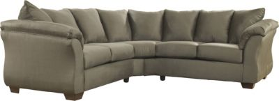Ashley Darcy Microfiber Green 2-Piece Sectional