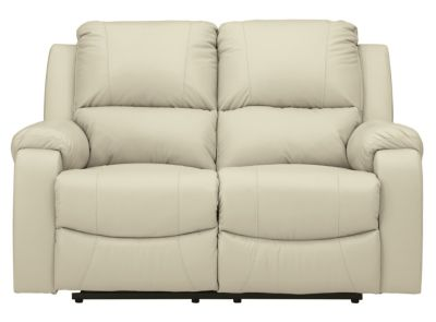 Ashley Rackingburg Cream Leather Reclining Loveseat
