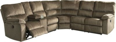 Ashley Urbino Brown 3-Piece Reclining Sectional