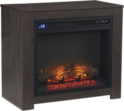 Ashley Harlinton Black Log Fireplace with Insert