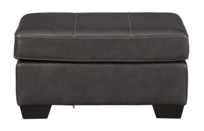 Ashley Morelos Gray Leather Ottoman