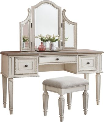 Ashley Realyn Vanity and Stool with Mirror