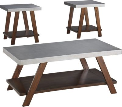 Ashley Bellenteen Coffee Table & 2 End Tables