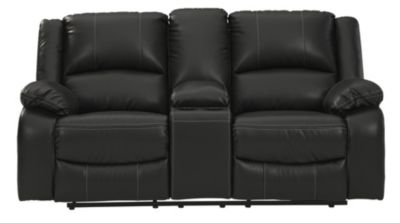 Ashley Calderwell Black Reclining Loveseat with Console