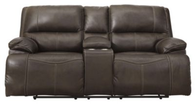 Ashley Ricmen Leather Power Recline Console Loveseat