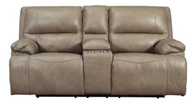 Ashley Ricmen Putty Leather Power Motion Console Loveseat