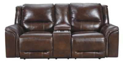 Ashley Catanzaro Leather Power Headrest Loveseat with Con