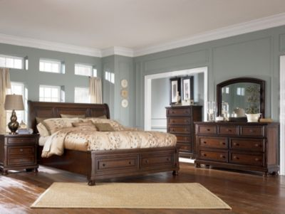 ashley porter 4 piece king storage bedroom set - King Bed Bedroom Sets