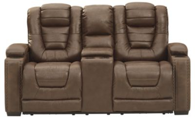 Ashley Owner's Box Power Headrest Loveseat with Console