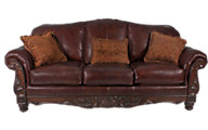 Ashley North Shore 100% Leather Wood Carved Sofa