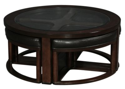 Coffee Table With Stools.Ashley Marion Round Coffee Table With Nesting Stools