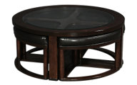 Ashley Marion Round Coffee Table with Nesting Stools