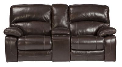 Ashley Damacio Leather Reclining Loveseat with Console