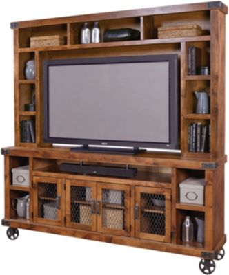 Aspen Industrial Fruitwood 84-Inch TV Console & Hutch