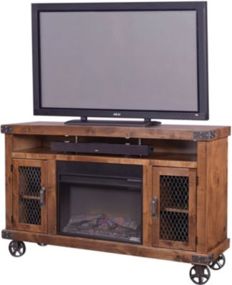 Aspen Industrial 62-Inch Fireplace Console