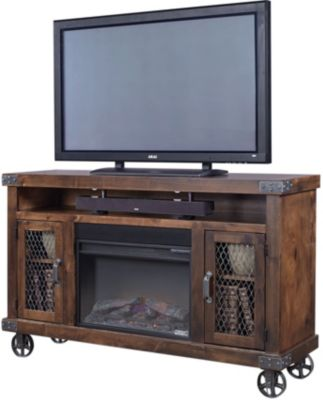 Aspen Industrial Tobacco 62-Inch Fireplace Console