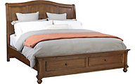 Aspen Oxford Whiskey Brown King Sleigh Storage Bed