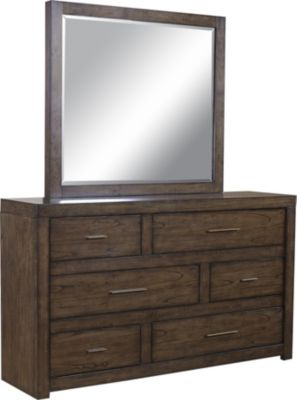 Aspen Modern Loft Brown Dresser with Mirror