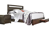 Aspen Modern Loft Brown King Storage Bed