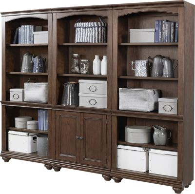 Aspen Oxford Whiskey Brown Tall Bookcase Wall