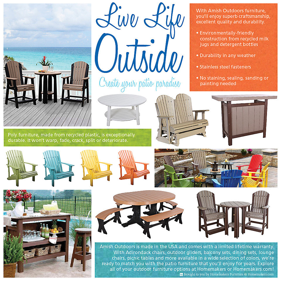 Amish Outdoors patio furniture infographic