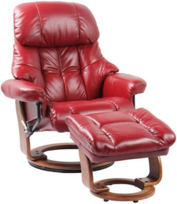 Benchmaster Nicholas Leather Recliner & Ottoman