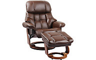 Benchmaster Nicholas Leather Recliner Chair & Ottoman