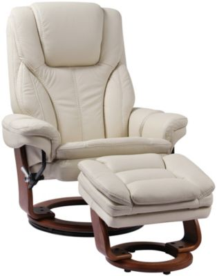 Benchmaster Hana Ivory Leather Recliner Chair & Ottoman